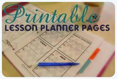 All Things With Purpose: Printable Lesson Planner Pages, free download.  There are 2 different versions with weekly goals and book lists.  I love the binder idea and sections for documenting more than 1 child during the year.