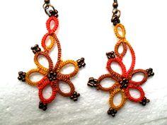 Handmade tatted earrings multicolore earrings by carmentatting