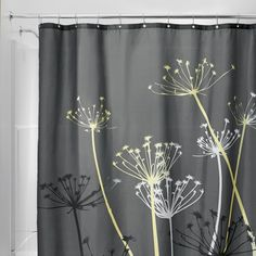Thistle Fabric Shower Curtain. Yellow Shower CurtainsFabric Shower Curtains Gray ...