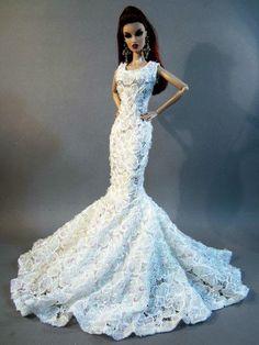 Eaki Wedding Bride Evening Silkstone Barbie Fashion Royalty Dress Outfit White  #Eaki #DollClothingAccessories