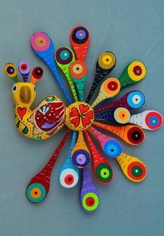 I want to felt this. Love the colors. Mexican Design, Paperclay, Mexican Folk Art, Art Plastique, Rock Art, Wood Carving, Art Lessons, Bunt, Sculpture Art