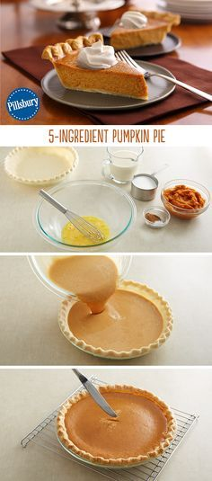 Our Pillsbury refrigerated pie crust makes pie-making easier than ever. This recipe takes the worry out of pie-making and has step-by-step instructions. The end result will wow all your guests this holiday season! Save this pumpkin Perfect Pumpkin Pie, Easy Pumpkin Pie, Pumpkin Pie Recipes, Pumpkin Dessert, Fall Recipes, Holiday Recipes, Simple Pumpkin Pie Recipe, Pillsbury Pie Crust Recipes, Drink Recipes