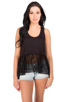 Lace Trim High-Low Racerback Tank #eclipse