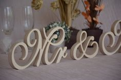 Wooden letters script  Mr &Mrs  set wedding table decor. by SunFla