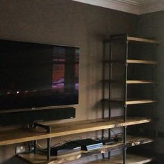 Oak Shelving Unit, Tv Shelving, Metal Leg Dining Table, Wood Resin Table, Live Edge Shelves, Room Shelves, Game Room Decor, Living Room Tv, Wood Slab