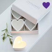 Unscented Ceramic Heart Tealights - Candles   The White Company
