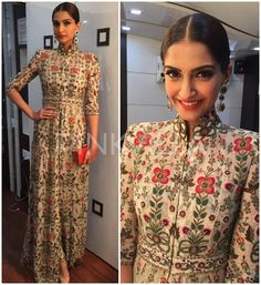 Sonam Kapoor attended the Inaugural Ceremony of Sir HN Reliance Foundation Hospital and Research Centre earlier today wearing an Anamika Khanna ensemble.