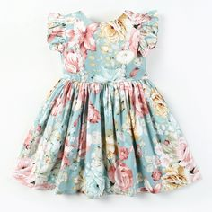 oh the beautiful colors of pastel blue and pink and yellow- I mean- it makes us already think of Spring gorgeous cotton floral print dress flutter sleeves floral ricrac trim across bodice pretty button back gathered waist cotton lined Cotton Dresses, Women's Dresses, Girls Dresses, Summer Dresses, Girls Boutique Dresses, Fashion Kids, Baby Girl Fashion, Blue Fashion, Toddler Dress