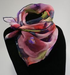 Small silk chiffon scarf hand painted floral bandana hand