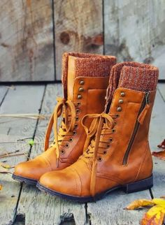 Cognac brown color with lace-up and side zip boots