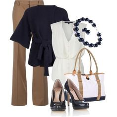 Blouse, slacks, purse and accessories