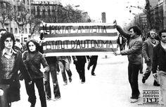 Barcelona, febrero 1976 40 aniversario de las multitudinarias manifestaciones de Barcelona reclamando libertad, amnistía para los presos políticos y un estatuto de autonomía para Cataluña.