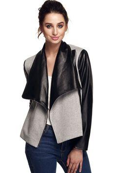 Finejo Fashion Women Wide Lapel Long Sleeve Contrast Color Slim Side Zip Jacket Coat Outwear