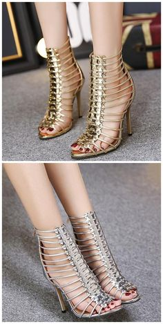 Gold silver gladiator style strappy heels sandals