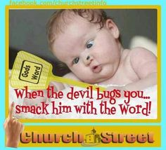 """When the devil bugs you...  Smack him with the word!   LOL!   I love this!"