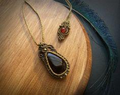 Sodalite and Quartz Crystal macrame pendant. от EarthBoundMacrame