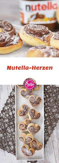 Süße Hefeteig-Herzen mit Nutella-Füllung. Schnell gemacht und eine tolle Überraschung.  #nutella