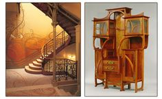 Left to right: The incredible staircase of the Hotel Tassel in Brussels, Victor Horta, 1893-1894; and a fantastic cabinet that is currently on view at the The Met: Cabinet-vitrine, 1899, Gustave Serrurier-Bovy
