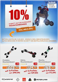 10 % Rabatt auf alle Mountainboards