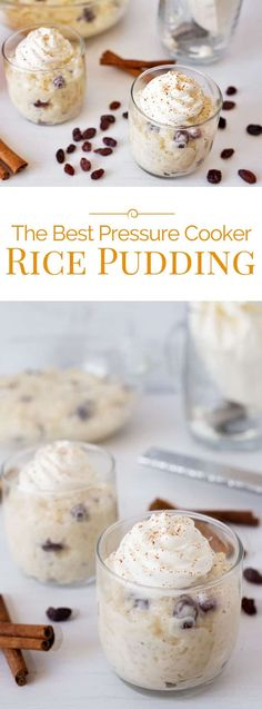 photo collage of rice pudding made in an electric pressure cooker