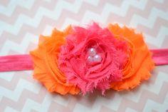Baby Girl Headband... Baby Headband... Neon Orange and Hot Pink Shabby Chic Flower Headband... Baby Flower Headband... Newborn Headband on Etsy, $7.99