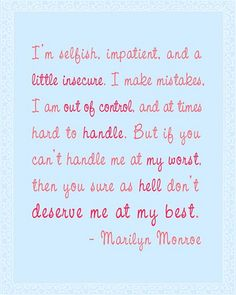 At My Best - Marilyn Monroe Quote in Pink on Light Blue | Flickr - Photo Sharing!
