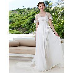 vestido de novia A-Line fuera del hombro tribunal tren de georgette y tul (788857) - USD $ 149.99