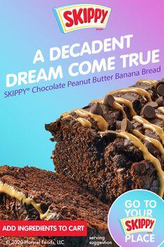 Banana Bread Recipes, Cake Recipes, Dessert Recipes, Sweet Recipes, Easy Desserts, Delicious Desserts, Yummy Food, Peanut Butter Recipes, Chocolate Peanut Butter