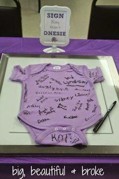 Purple Elephant Baby Shower #babyshowerideas #onesie #guestbookideas