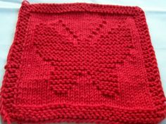 Hand knit dish cloth wash cloth Red butterfly on Etsy, $2.50