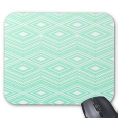 Mint Green and White Geometric Motifs Pattern Mouse Pad High Quality Mouse Pad Desktop Mousepad Laptop Mousepads Comfortable Computer Mouse Mat Cute Gaming Mouse Pad
