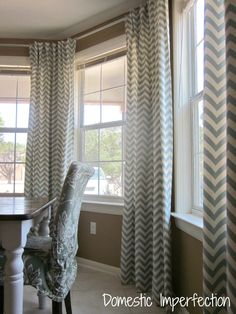 Chevron curtain. DIY Bay Window Curtain Rod & Back Tab Curtains — Domestic Imperfection
