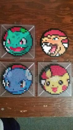 Pokemon Perler Coasters – Pokemon Perler Coasters – - Minecraft World 2020 Pyssla Pokemon, Pokemon Perler Beads, Diy Perler Beads, Perler Bead Art, Hamma Beads 3d, Peler Beads, Fuse Beads, Pearler Bead Patterns, Craft Ideas