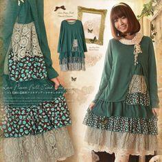 2017 Spring Autumn Forest Loose Vintage Floral Ruffles Women Asymmetric Dress Mori Girl Sweet Long Sleeve Knitted Dresses C237