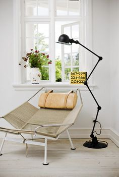 i hope that one day i will lie in my own flag halyard chair by hans wegner and read by the ligt from my jielde signal zig-zag lamp      photo: morten holtum, http://www.holtum.dk/