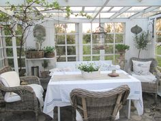 Inside Gazebo. Outside Patio Garden Whitewashed Cottage Chippy Shabby chic French country Rustic Swedish Decor Idea. ***Pinned by oldattic***.