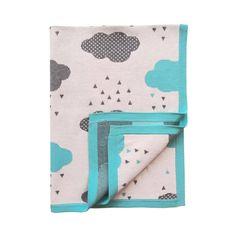 Aqua Rainy Day cot or pram blanket. 100% cotton and so soft. www.sweetlittledreams.com.au