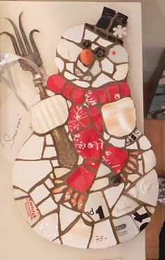 Snowman w/ Red Scarf by Anja Hertle ~  Maplestone Gallery  ~  Contemporary Mosaic Art