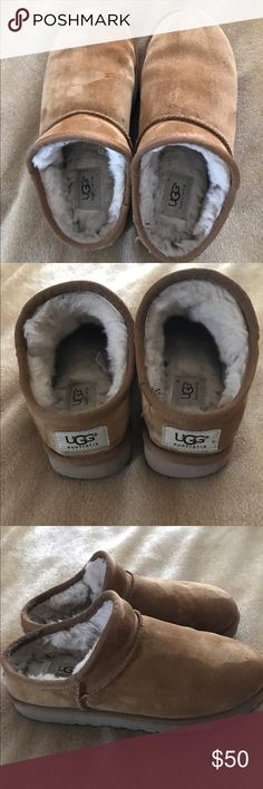 Ugg Slippers Ugg slippers with sole that can be worn indoors or outdoors. They're women's size 7 in Chestnut color. Offers are accepted. Discounted Bundles. UGG Shoes Mules & Clogs