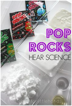 Hear science with an easy pop rocks science experiment. Explore different viscous fluids to see how loud pop rocks will pop. Feel, hear, and touch science. Explore sense of sound, non-newtonian fluids and liquids. Great for Brownies Senses Badge A great w Rock Science, Sound Science, Summer Science, Science Lessons, Teaching Science, Science For Kids, Science Projects, Science Fun, Science Ideas