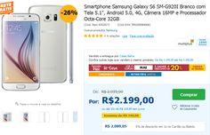 """Samsung Galaxy S6 SM-G920I Branco Tela 5.1"""" Android 5.0 4G Câmera 16MP Octa-Core 32GB << R$ 175920 em 10 vezes >>"""