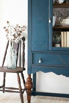 Refinished China Cabinet, Antique China Cabinets, Painted China Cabinets, Antique Cupboard, Blue China Cabinet, Blue Painted Furniture, Paint Furniture, Furniture Makeover, Distressed Furniture