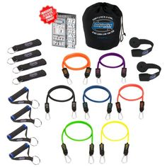 Bodylastics 19 pcs Resistance Bands *STRONG MAN STACKABLE Set (202 lbs.) with 7 anti-snap exercise tubes, Heavy Duty components, carrying case, and 3x4 ft. wall chart with over 100 exercises Bodylastics,http://www.amazon.ca/dp/B0026NB3LE/ref=cm_sw_r_pi_dp_HQ4ytb0MWB80QPSK