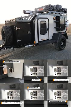 Expedition by Off Grid Trailers. These trailers are built in Canada and are now available in the USA. Some of the interior features include: USB ports, digital voltmeter display, interior LED lighting, dual outlet with a Go-Power remote. Off Road Camper Trailer, Trailer Diy, Truck Camper, Off Road Camping, Jeep Camping, Camping Tips, Off Grid Trailers, Camper Trailers, Rv Campers