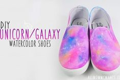 DIY - Unicorn Galaxy Watercolor Shoes Tutorial (Video) | Life She Has Watercolor Galaxy, Watercolor Canvas, Rhinestone Shoes, Bling Shoes, Galaxy Art, Diy Galaxy, Shirt Hacks, White Canvas Shoes, Unicorn Crafts