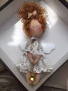 Купить Ангелочек-кудряшка - бежевый, ангелочек, кудряшки, кукла ручной работы, колокольчик, холофайбер