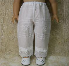WHITE REGENCY PANTALETTES for Caroline or any American Girl Dolls like Cecile Elizabeth Kirsten