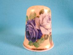 Thimble Bone China with Blue Roses by EgiArt on Etsy