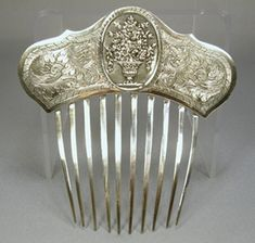 English Georgian period sterling silver hair comb with a basket of flowers design - Vintage Hair Combs, Vintage Hair Accessories, Wedding Hair Accessories, Vintage Silver, Antique Silver, Antique Jewelry, Vintage Jewelry, Victorian Hairstyles, Barrettes