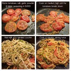 Zoodles and tomatoes